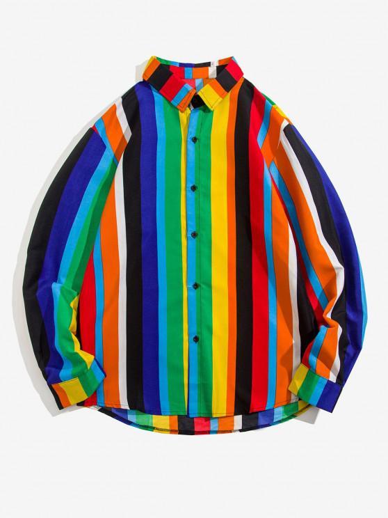 women Stripes Shark Print Long Sleeve Shirt - MULTI XL