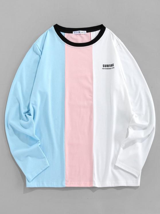 ZAFUL SURFING Print Contrast Slogan T-shirt - أزرق فاتح L