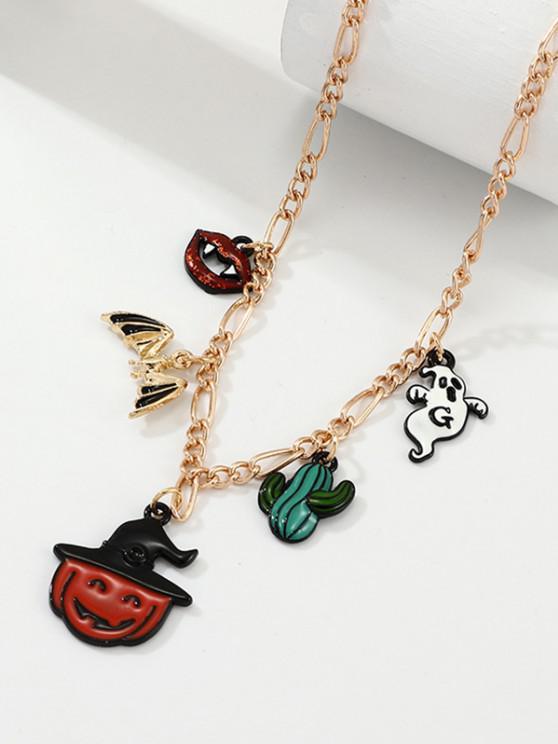 Halloween Pendant Cartoon Pumpkin Necklace - ذهبي