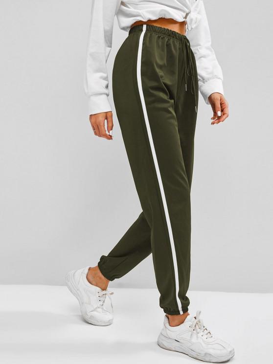 hot Contrast Side Tie Detail Jogger Pants - LIGHT GREEN XL
