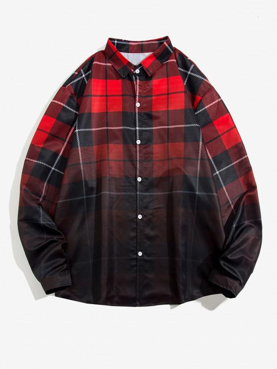 Ombre Plaid Print Long Sleeve Shirt - أحمر S