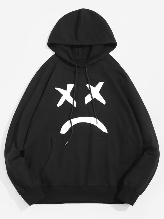 Abstract Sad Face Graphic Front Pocket Casual Hoodie - Preto XS