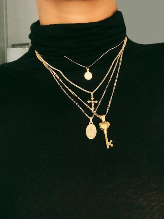 Key Cross Disc Pendant Multilayered Chain Necklace - ذهبي