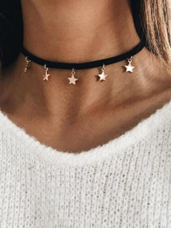 Star Pendant Choker Leather Necklace - أسود