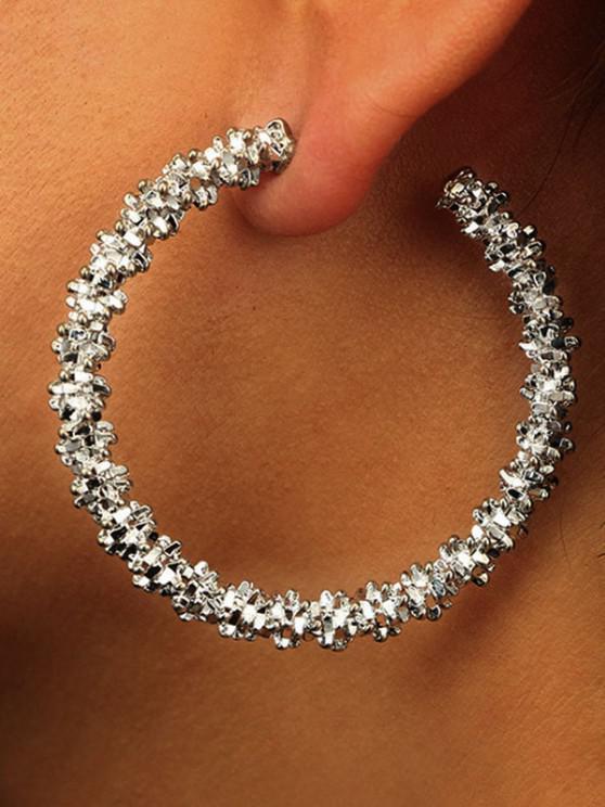 trendy Textured Hoop Earrings - SILVER