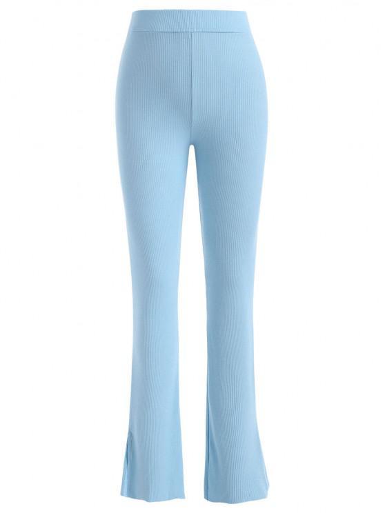 Pantalon Evasé Côtelé Fendu à Taille Haute - Bleu clair L