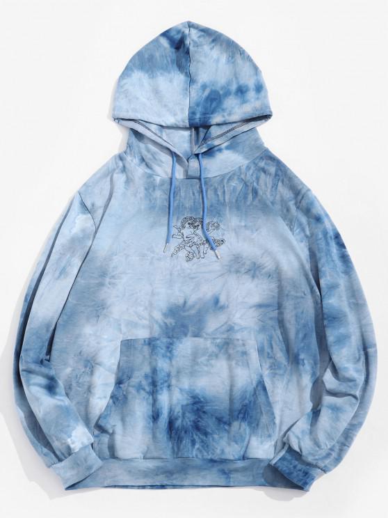 women Angel Pattern Tie Dye Kangaroo Pocket Hoodie - LIGHT BLUE 2XL