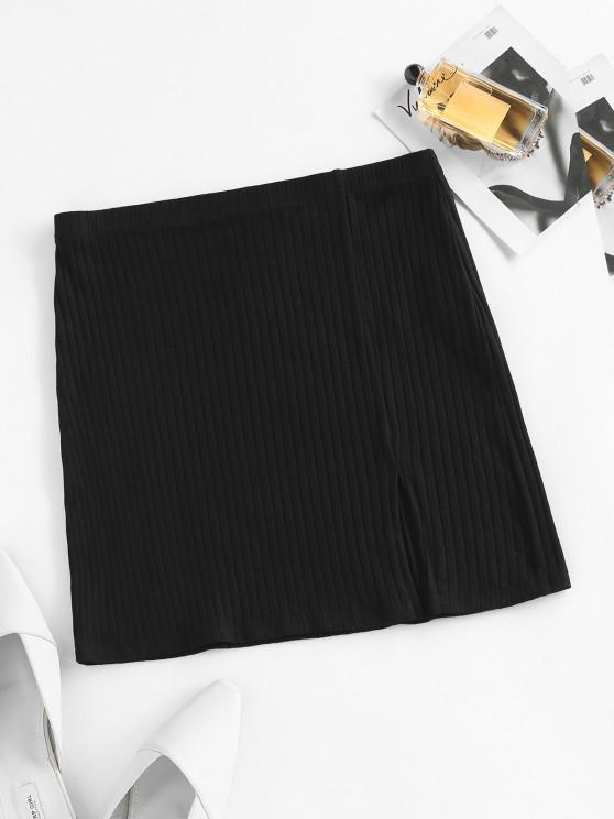 fancy ZAFUL Ribbed Slit Bodycon Skirt - BLACK L
