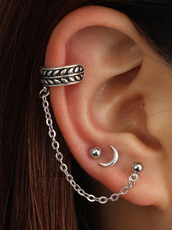 women's 3 Piece Moon Stud and Ear Cuff Earring Set - SILVER