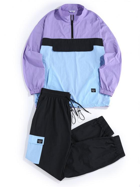 hot ZAFUL Colorblock Panel Jacket and Pants Set - MULTI 2XL