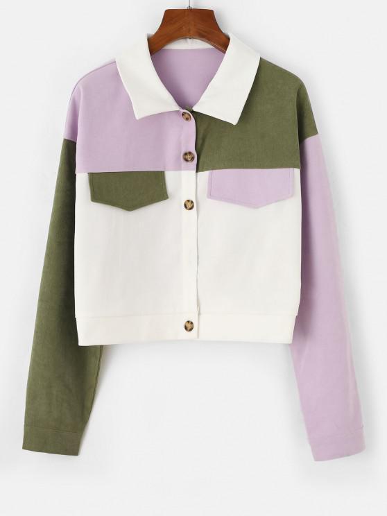 shop Colorblock Drop Shoulder Crop Jacket - WHITE XL