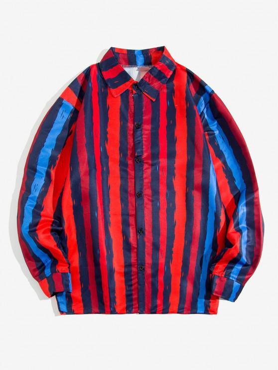 Contrast Stripe Print Long Sleeve Shirt - أحمر XL