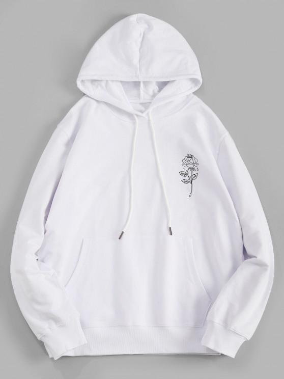 Rose Floral Graphic Pouch Pocket Pullover Hoodie - أبيض M