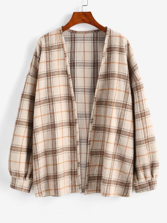 buy Plaid Drop Shoulder Open Front Coat - LIGHT COFFEE M