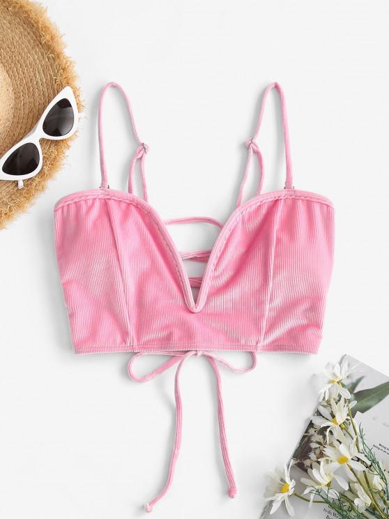 fashion ZAFUL Ribbed Velvet Lace-up V Wired Bikini Top - HOT PINK L
