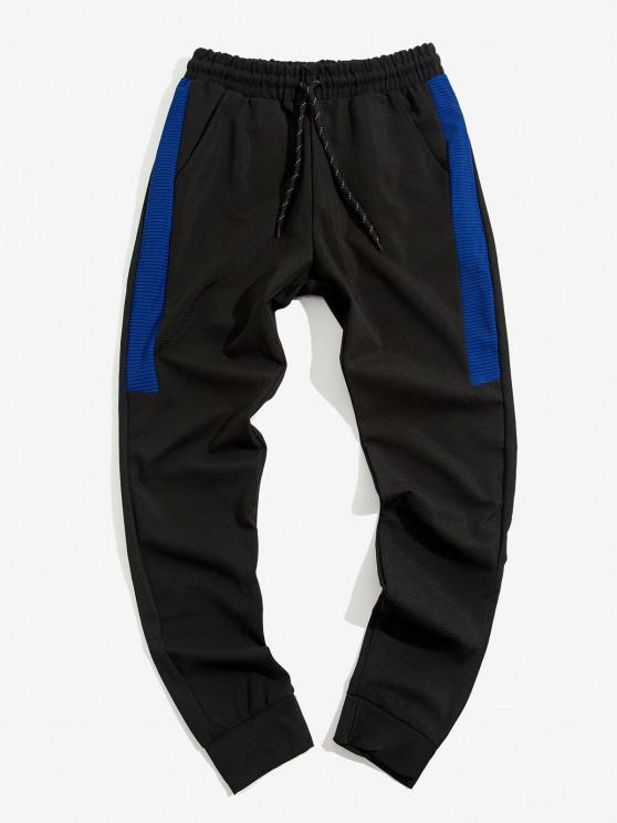 Contrast Ribbed Casual Pants - أسود XL