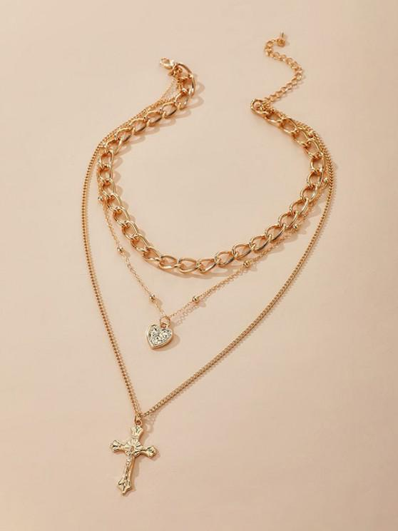 latest Cross Heart Shape Layered Pendant Necklace - GOLDEN