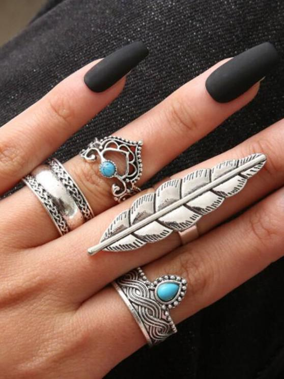 sale 4 Piece Ethnic Engraved Feather Finger Rings Set - SILVER