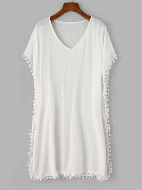 ZAFUL Pom Pom V Neck Poncho Cover Up Dress - أبيض M