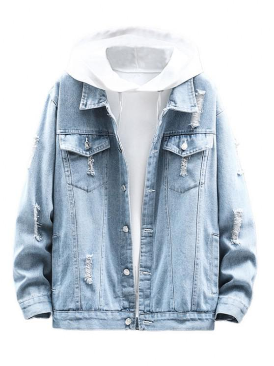 sale Distressed Ripped Denim Jacket - LIGHT BLUE XS