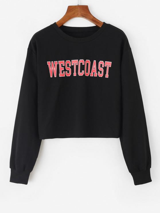 affordable Westcoast Graphic Crop Sweatshirt - BLACK L