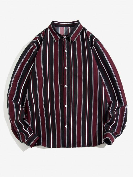 women Striped Feather Print Long Sleeve Shirt - DEEP RED S