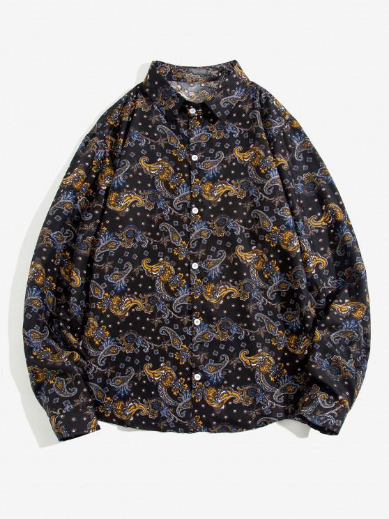 lady Paisley Print Long Sleeve Shirt - BLACK L