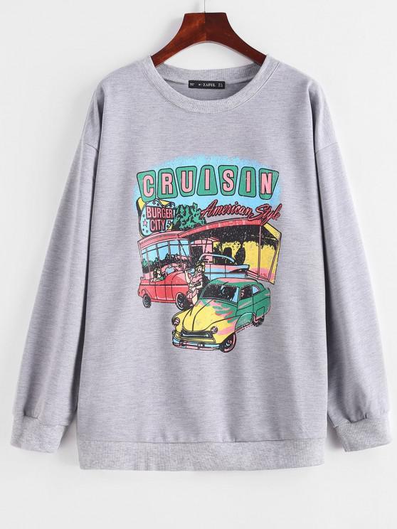 unique Letter Car Print Drop Shoulder Pullover Sweatshirt - LIGHT GRAY S