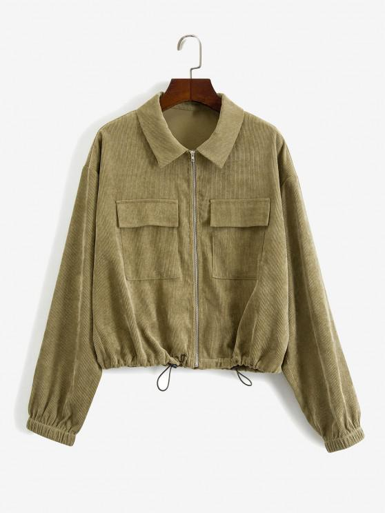 womens ZAFUL Zip Up Corduroy Cargo Jacket - ARMY GREEN S