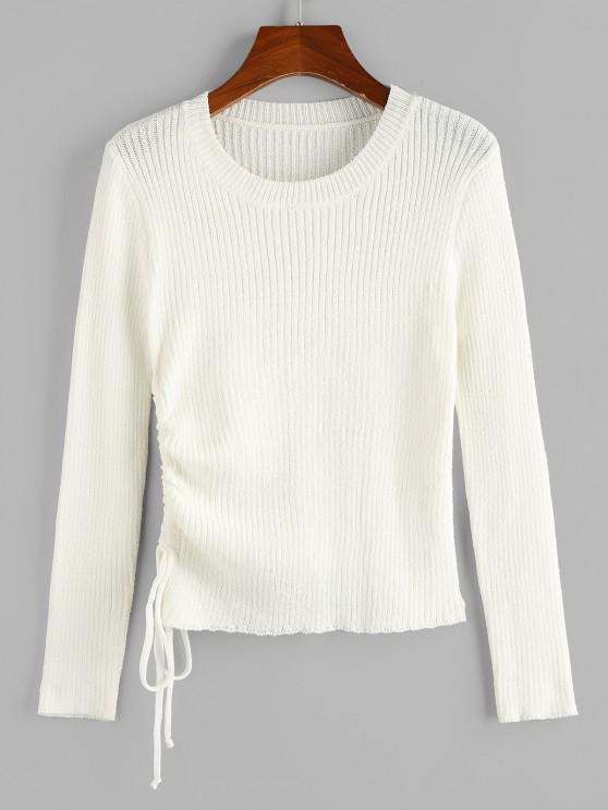 ZAFUL Cinched Ribbed Plain Jumper Sweater - أبيض S