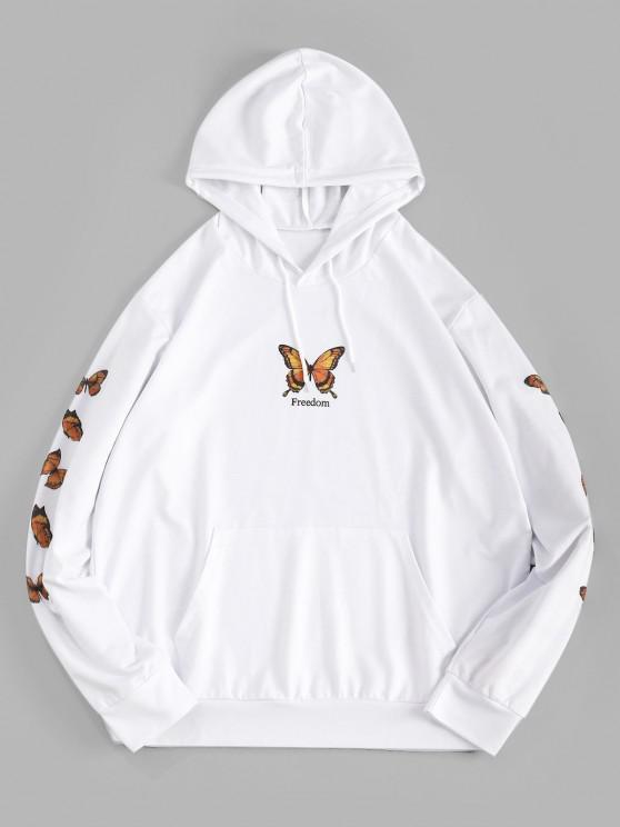 Freedom Butterfly Print Kangaroo Pocket Hoodie - أبيض XL
