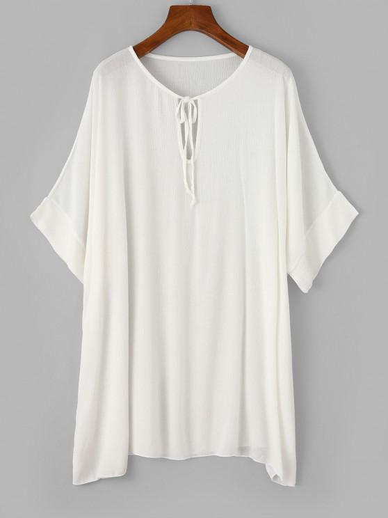 unique ZAFUL Keyhole Batwing Sleeve Tunic Beach Dress - WHITE L