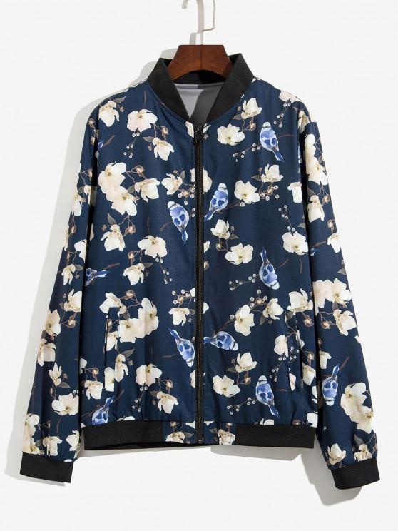 Veste Zippée Fleur et Plante Imprimées - Bleu profond XL