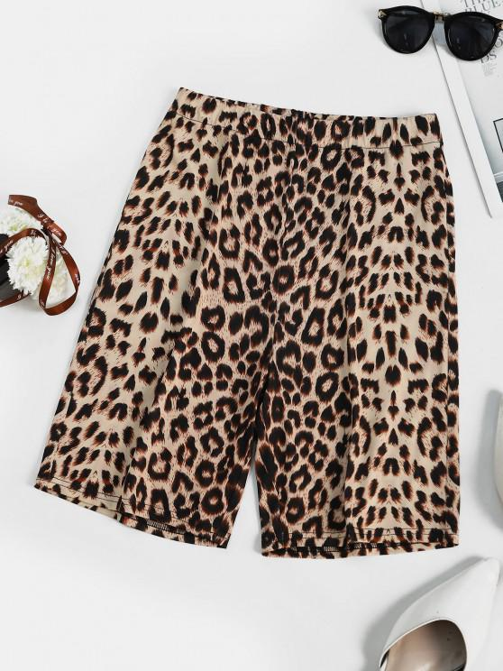 lady Leopard Animal Printed High Rise Biker Shorts - COFFEE S