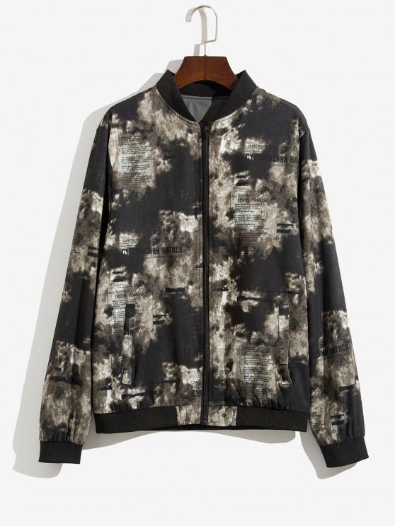 fancy Zip Up Print Ribbed Hem Jacket - DEEP GREEN M