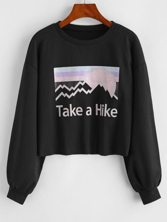 hot Take a Hike Sun Graphic Drop Shoulder Sweatshirt - BLACK M