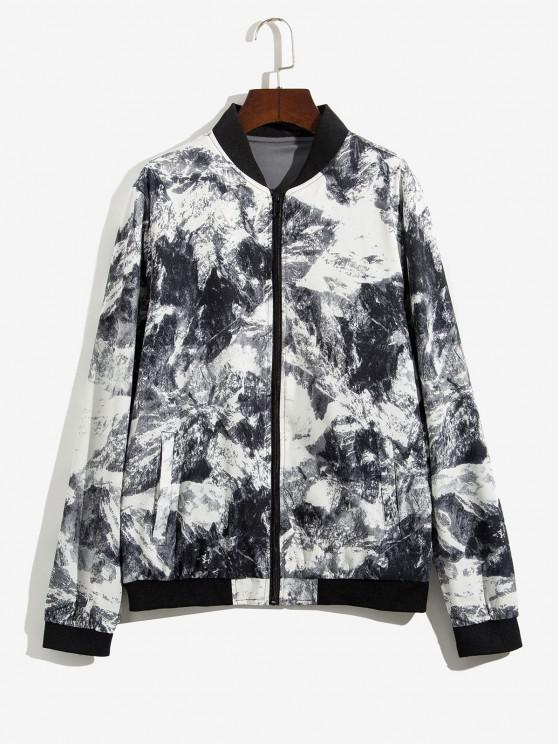 affordable Zip Up Print Stand Collar Jacket - GRAY L