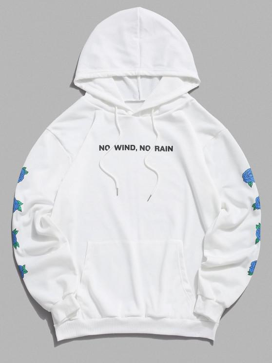 No Wind No Rain Rose Flower Pattern Hoodie - أبيض 2XL