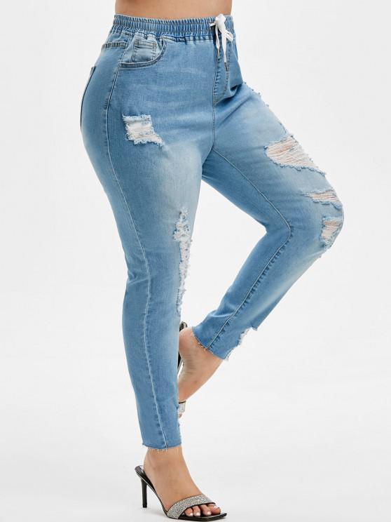 Plus Size Drawstring Ripped Frayed Hem Jeans - أزرق فاتح L
