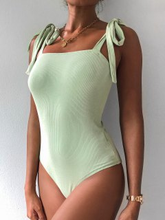 ZAFUL Snap Button Tie Shoulder Ribbed Bodysuit - Light Green S