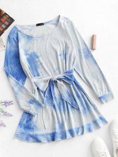 Robe ChemiseTeintée Côtelée à Taille Nouée - Bleu Clair L