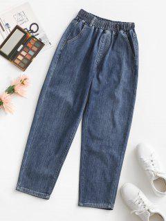 Elastic High Waisted Pocket Mom Jeans - Deep Blue L