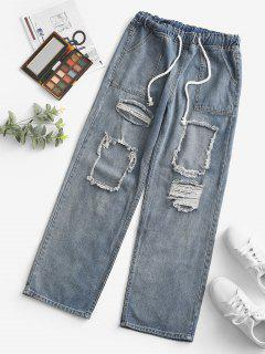 Grunge Drawstring Ripped Straight Jeans - Light Blue S