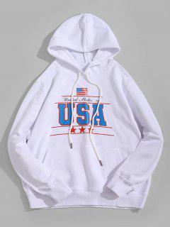 USA Graphic Kangaroo Pocket Hoodie - White M