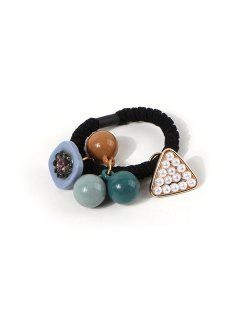 Faux Pearl Beads Pendant Hair Tie - Black
