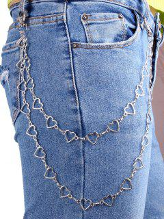 Hollow Heart Shape Layered Trousers Chain - Silver