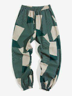 ZAFUL Striped Geometric Pattern Beam Feet Pants - Deep Green 2xl