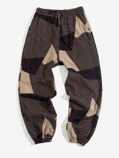 ZAFUL Striped Geometric Pattern Beam Feet Pants - Deep Coffee 2xl