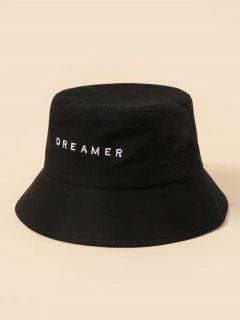 Brief Embroidery Dreamer Bucket Hat - Black