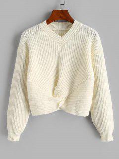 Twisted V Neck Crop Sweater - Warm White